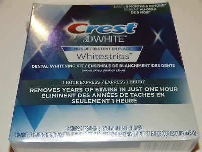 CREST 3D WHITE WHITESTRIPS 1-HOUR EXPRESS 14 Strips 7 Pouches Teeth