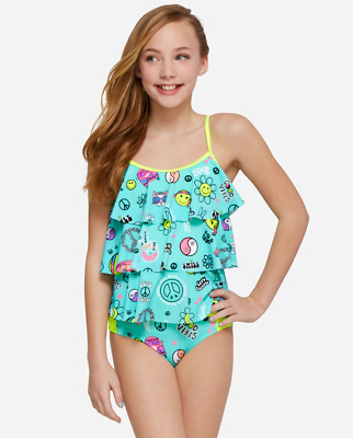 Justice Girl's Good Vibes Emoji Tiered Tankini Bathing Suit Size 18 NWT