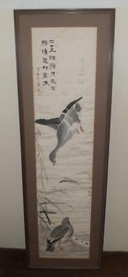 Framed 19Th Century Edo Period Japanese Hand Painted Scroll Painting Of Ducks
