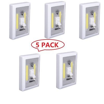 5 Pack COB LED Wall Switch Magnet Closet Cordless Night Light Battery Operated