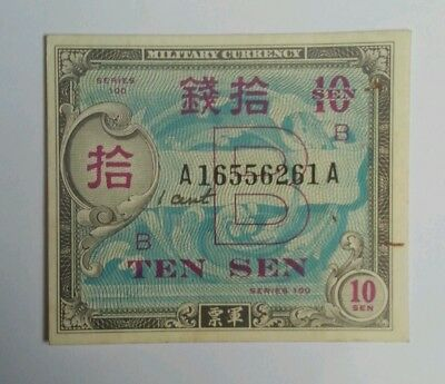 JAPAN 10 SEN 1945 WWII Allied Military OCCUPATION Currency XF+ SERIES 100 1B