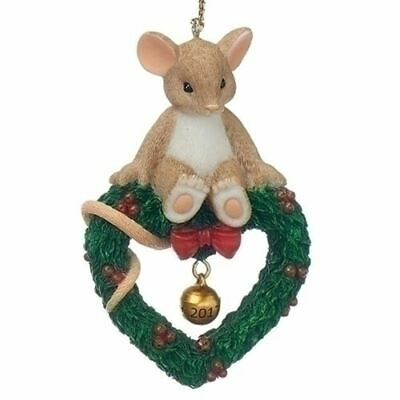 "Charming Tails Annual Ornament 3"" Mouse on Wreath 2017 Bell"