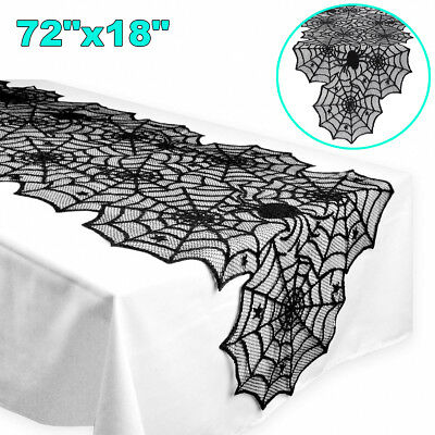 Halloween Lace Spider Web Table Runner Tablecloth Fireplace Mantle Scarf Decor