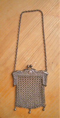 Old Antique Victorian German Silver Chatelaine Mesh Coin Purse