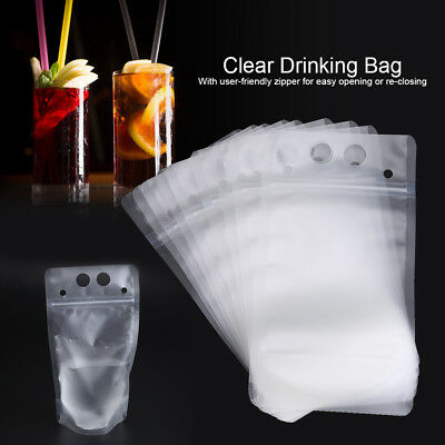 50x Ziplock Drink Bags Stand Up Reclosable Zipper Drinking Pouches Hang Hole DY