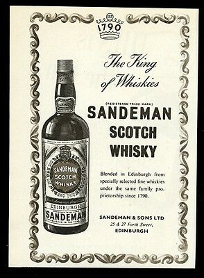 1955 Sandeman Scotch Whisky bottle art UK vintage print ad