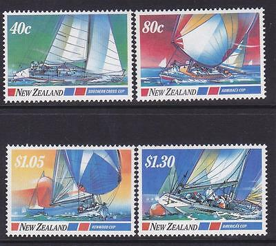MINT 1987 NEW ZEALAND NZ YACHTING BOATS COMPLETE STAMP SET of 4 MUH