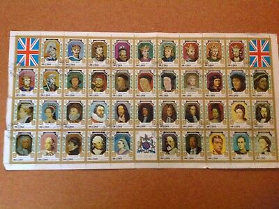 Rare Kings ,Queens of England.Large Sheet of 41 from Umm Al Qiwain.Stamped 1971.