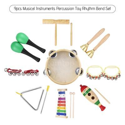 Kid Percussion Rhythm Toy Set Glockenspiel Tambourine Maracas Cylinder 9pcs P9I3