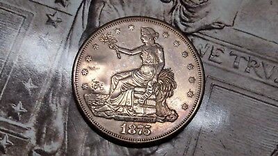 1875 S Silver Trade Dollar High Grade W/ 2 Chop Marks Lots Of Mint Luster!!