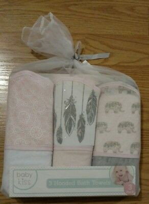 3 BABYKISS Baby Hooded Towels Set Feathers Elephants Infant Bath Kiss Girls Pink