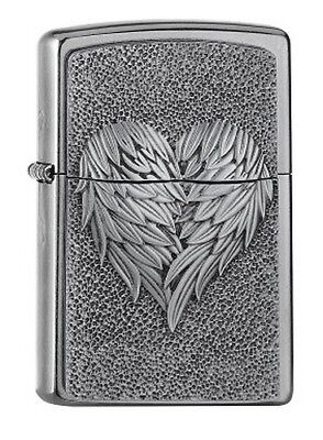 """ZIPPO """"HEART with FEATHERS"""" STREET CHROME EMBLEM LIGHTER ** NEW **"""