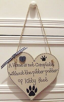 Handmade Personalised Heart Plaque Sign Pet Cat Lovers Paw Shabby Chic Home Gift