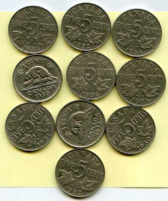 Lot of 10 (Ten) CANADIAN NICKELS 1930-1923 King George V & VI 5 Cent Coins 1930s