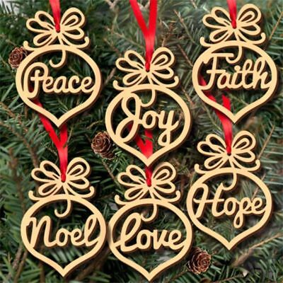 6Pcs Wooden Ornament Christmas Decorations Xmas Tree Hanging Tags Pendant Decor
