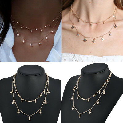 Fashion Women Multilayer Star Moon Pendant Gold Chain Choker Necklace Jewelry