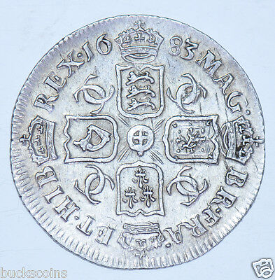 1683 Sixpence British Silver Coin From Charles Ii Ef