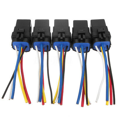 5x 5Pin Automotive Car Relay Switch Harness Waterproof 30A/40A 12VDC 12AWG Wires