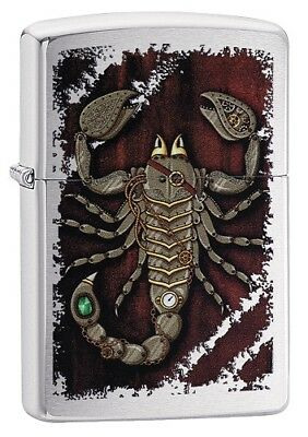"Zippo ""steampunk Scorpion"" Brushed Chrome Color Lighter ** New **"