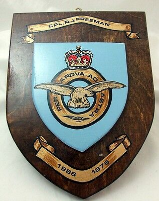 VINTAGE Hand Painted Large RAF Plaque Cpl R J Freeman 1966-1975 340g