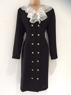 Vintage 80's Black Wool Blend Ruffle Trim Power Dressing Secretary Word Dress 12