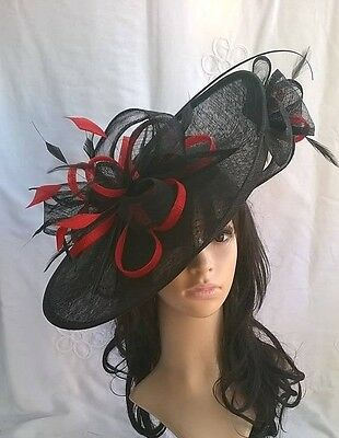 Black with Poppy red Hatinator ..hat.Large saucer disc Wedding.races.