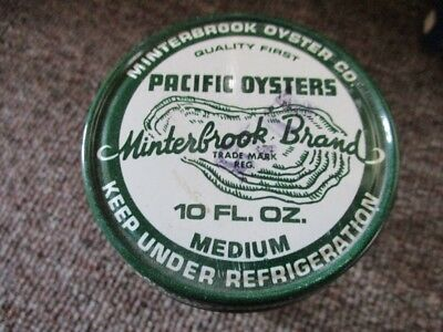 Vintage MINTERBROOK BRAND OYSTERS 10 oz GLASS JAR With LID!