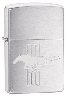 "Zippo ""ford Mustang"" Brushed Chrome Engraved Lighter ** New **"