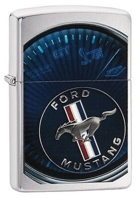 "Zippo ""ford Mustang"" Brushed Chrome Color Lighter ** New **"