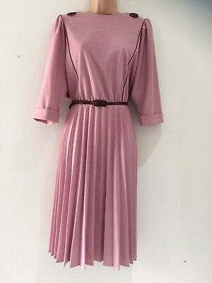 Vintage 80's Retro Pale Dusky Pink Maroon Trim Belted Pleated Day Dress 14-16