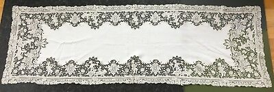 """Antique French Alencon Lace linen table runner w figural angels 18"""" x 55"""""""