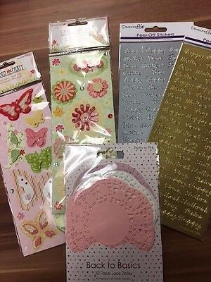 Mixed Lot Dovecraft Stickers 3D Doilies Card Making Scrapbooking Paper Craft New