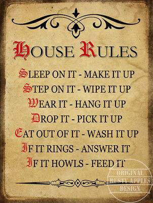 House Rules: Funny Retro Vintage Style Wall Metal Sign Home Decor Gift