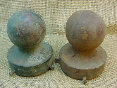 "2 Vintage 3 1/2"" Cast Iron Cannonball Style Fence/gate Post Toppers. L@@k"