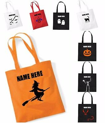 New Personalised Name Halloween Trick Or Treat Candy Sweets Fancy Dress Tote Bag