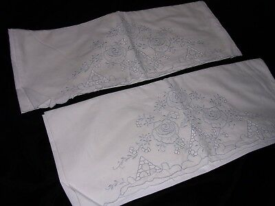 #AA PAIR OF ELEGANT MADEIRA EMBROIDERED VINTAGE COTTON PILLOWCASES with CUTWORK,