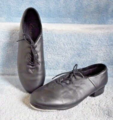 Leo's Ultratone Black Leather Lace Up Tap Jazz Shoes Size 8M