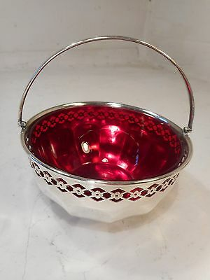 Silver Plate Cranberry Glass Sugar Bowl   ref 2230