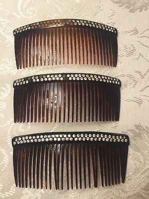 Vintage Hair Comb Lot Of 3 Rhinestones Hair Decorations