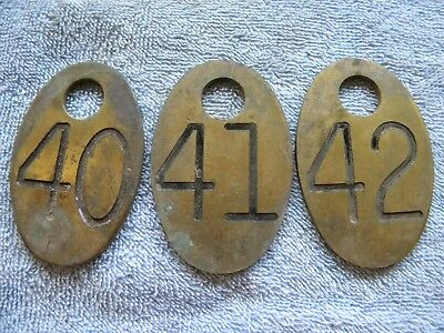 Lot 3 brass cow number tag Dairy Farm marker dbl side consecutive # 40,41,42
