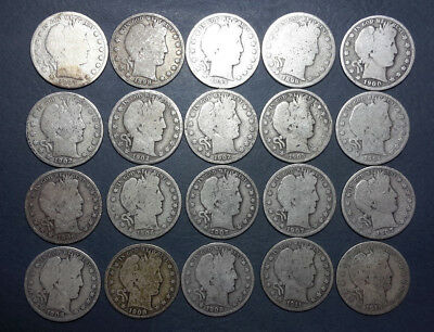 Roll of 20 different Barber Half Dollars with full dates circulated #1