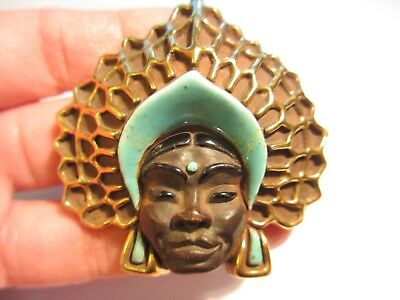 Magnificent Vintage Stoneware/pottery Blackamoor Face Pin/brooch-Masterpiece-Nr