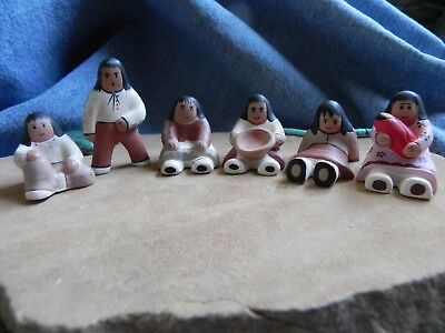 American Legacy Story Tellers~Lot of 6 Ceramic Clay Native American Figurines