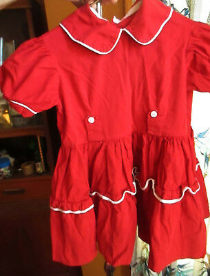 sz 7 8  1950s Girls RED ALL COTTON SHELL BUTTON COUNTRY Summer Dress