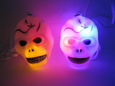 48 Flashing Plastic Skull Necklaces For Disco Party