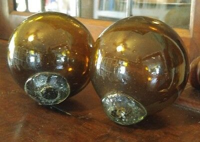 """Pair of 4"""" Antique Vintage Amber Glass Japanese Fish Floats"""