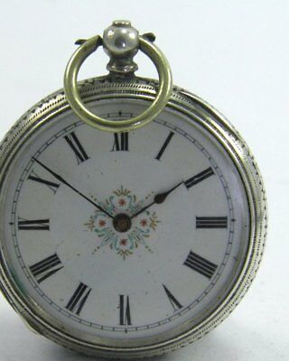 Antique 19th century Continental fine silver cased key wind fob pocket watch 8