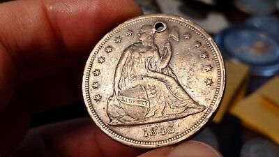 1843 Seated Liberty Dollar (Hole) Nice Details