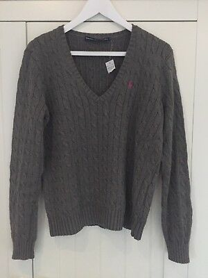 New Ladies Ralph Lauren Cable Knit V Neck Jumper Size XL 12-14