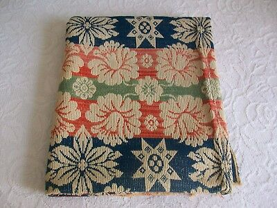 Antique/vintage Loom Woven Blanket-Coverlet - 3 Tone Colors Blue Coral Green